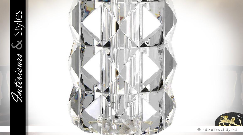 Lampe chic en cristal multifacettes et nickel argenté avec abat-jour cylindrique 75 cm