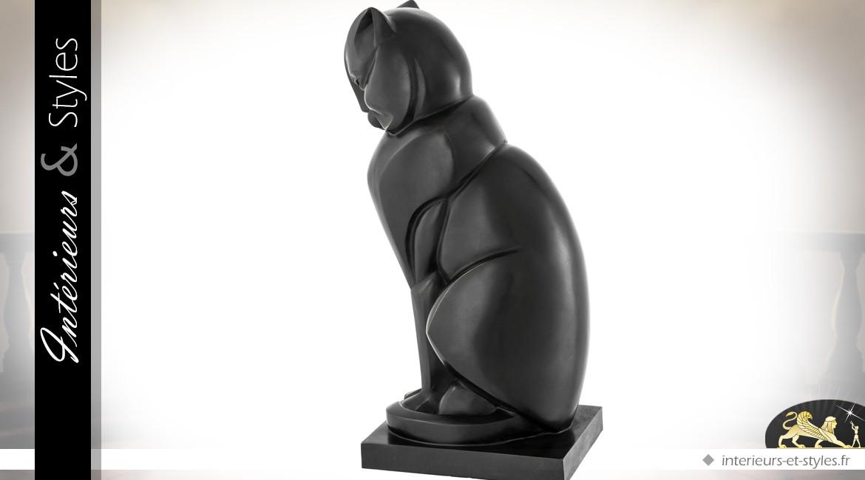 Statuette de chat stylisé en bronze style Egypte antique 46 cm