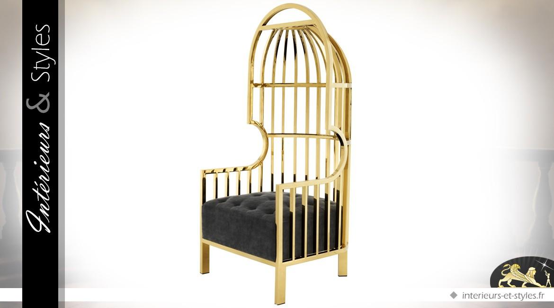 Fauteuil design noir et or dossier enveloppant en demi-cage 150 cm
