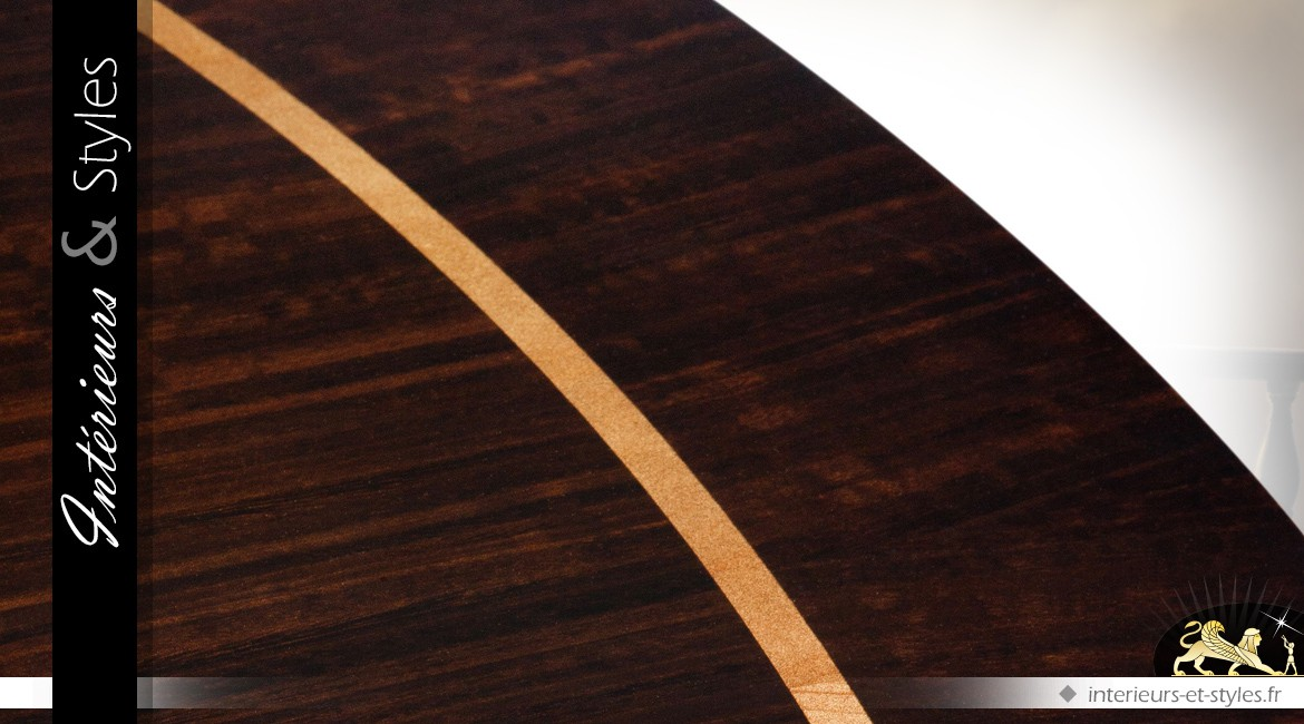Luxueuse table ronde acajou finition eucalyptus fumé brillant Ø 150 cm