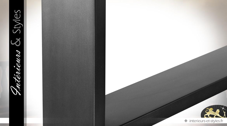 Grande table 300 cm marqueterie chêne fumé effet 3D plateau épais 6 cm