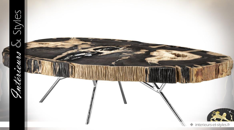 Table basse ovale en bois pétrifié sur structure en acier inoxydable 120 cm