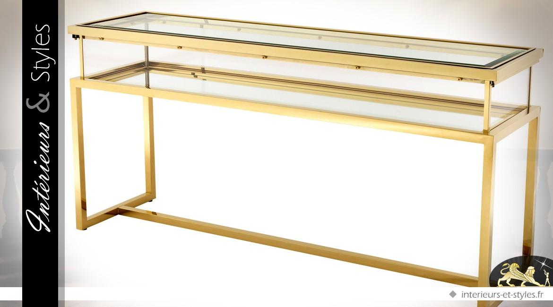 Console design doré brillant avec vitrine d'exposition à plateau coulissant 160 cm