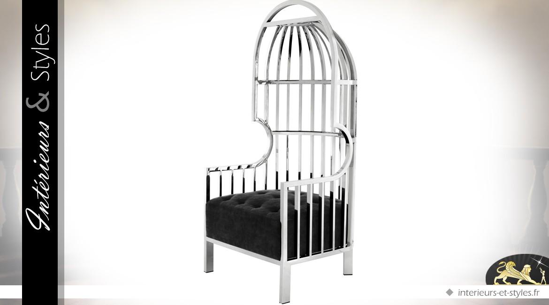 Fauteuil design noir et argent dossier enveloppant en demi-cage 150 cm