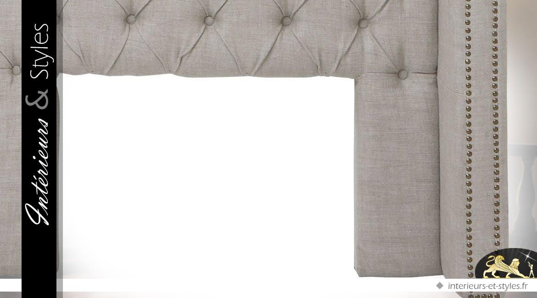 Tête de lit capitonnée en lin Oxford naturel gris en 200 cm avec retours