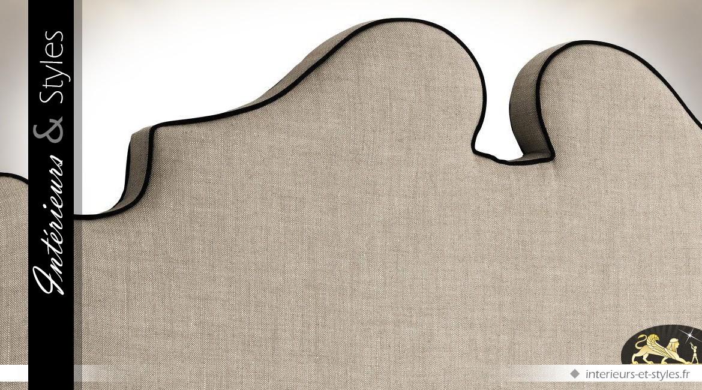 Tête de lit Boudoir en lin gris 100 % naturel avec passepoil noir 200 cm