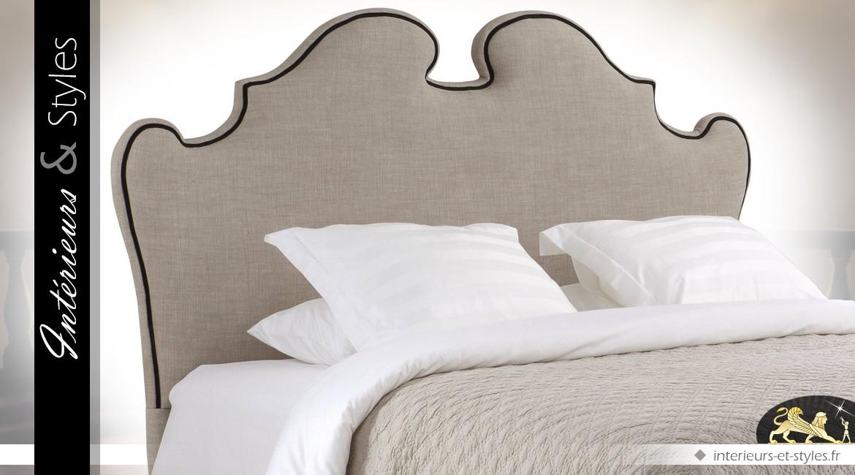 t te de lit boudoir en lin gris 100 naturel avec. Black Bedroom Furniture Sets. Home Design Ideas