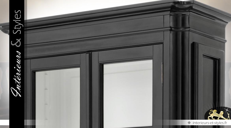 Bibliothèque vitrine 2 portes vitrées et tiroir bas patine noire 240 cm