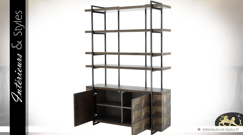 Buffet avec étagère en chêne fumé et acier inoxydable motifs en trompe-l'oeil 200 cm