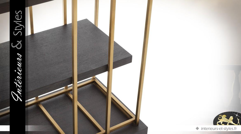 Etagère contemporaine style architectural laiton doré brossé et chêne gris anthracite