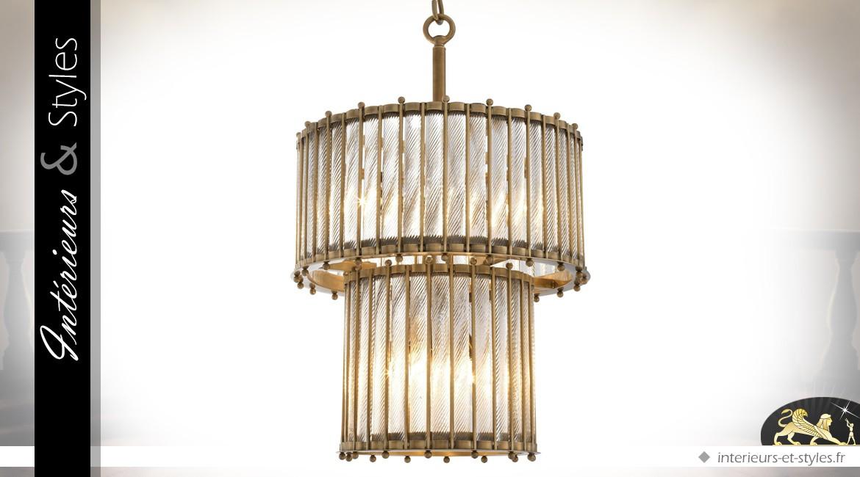 Lustre cylindrique double corps en laiton doré vieilli et tubes de verre torsadés 83 cm