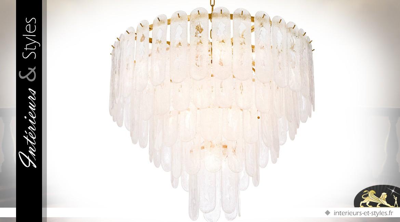 Grand lustre doré couronnes concentriques pampilles dépolies Ø 85 cm