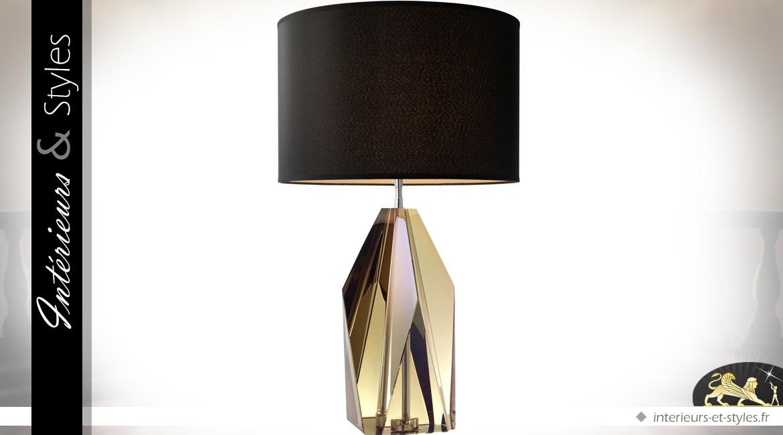Lampe saphir jaune ambré en cristal avec abat-jour cylindrique noir Ø 43 cm