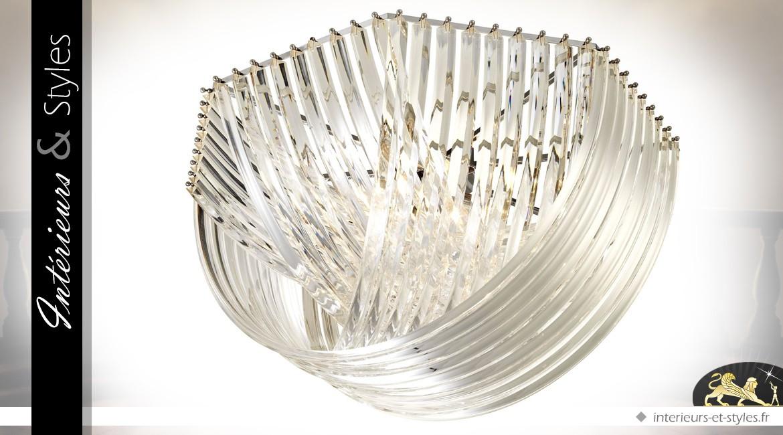 Grand plafonnier hexagonal design cristallin argenté style Murano Ø 90 cm
