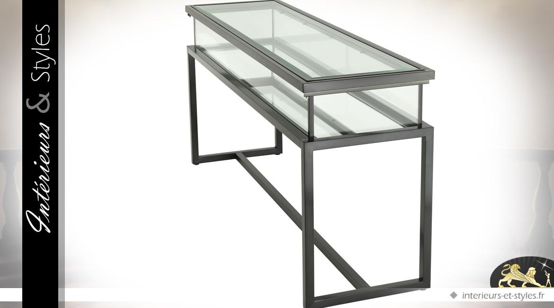 Console design bronze foncé avec vitrine d'exposition à plateau coulissant 160 cm