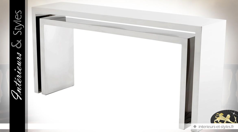 Consoles gigognes design en acier inoxydable argenté poli 170 cm