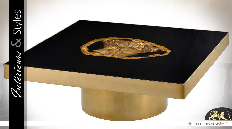 Table basse carrée design dorée et noire avec bois pétrifié 100 x 100 cm
