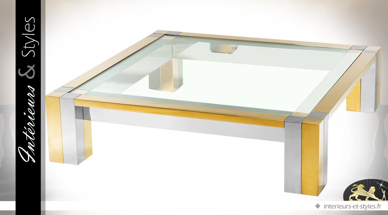 Table basse design carrée en métal brillant or et argent 120 x 120 cm