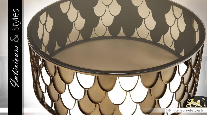 Table basse circulaire Koï en métal cuivré et verre teinté fauve Ø 110 cm