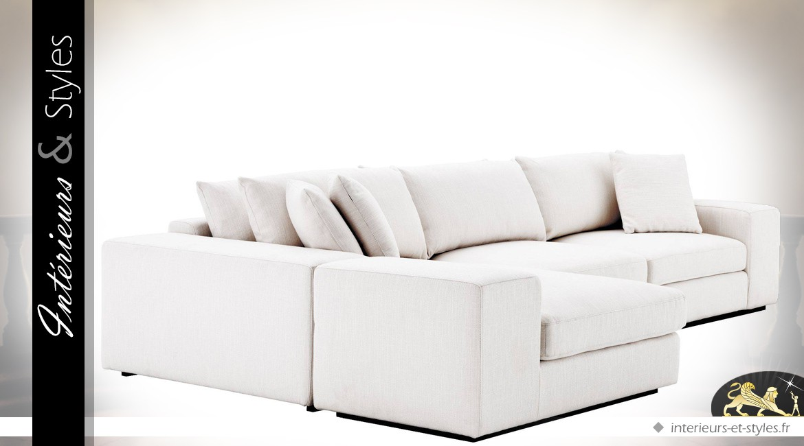 Grand canapé d'angle modulable contemporain en tissu blanc Avalon 380 x 200 cm