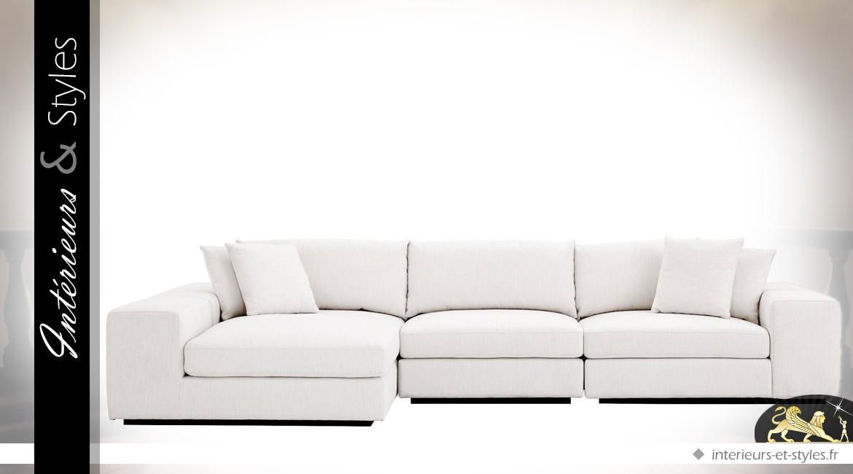 Grand canapé d'angle modulable contemporain en tissu blanc Avalon 380 x 200 cm