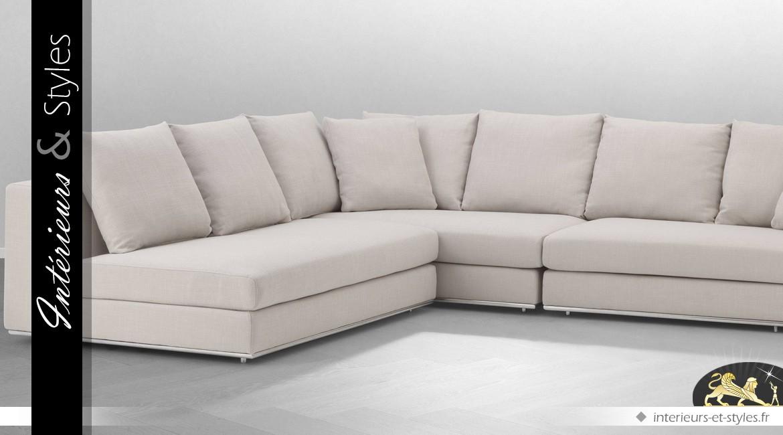 Grand canapé d'angle contemporain habillage tissu ivoire 317 x 269 cm