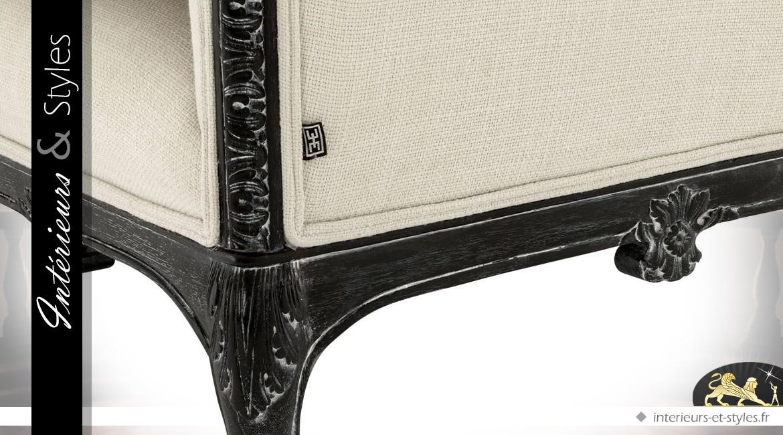 Canapé baroque italien bois chantourné sculpté et habillage en lin 169 cm