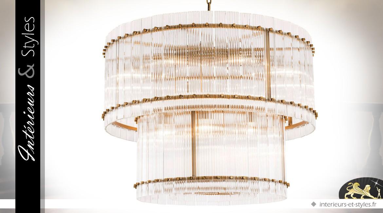 Lustre cylindrique double en laiton doré antique et verre clair nervuré Ø 93 cm