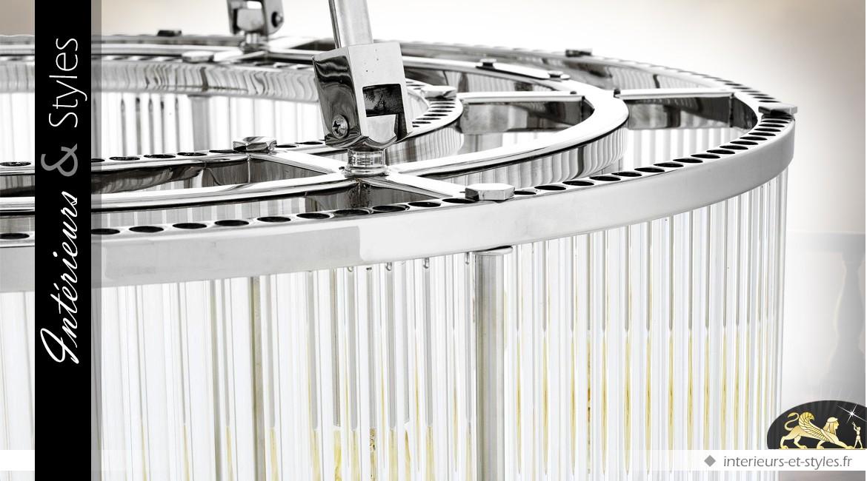 Grande suspension Art Déco argentée double tambour Ø 90 cm