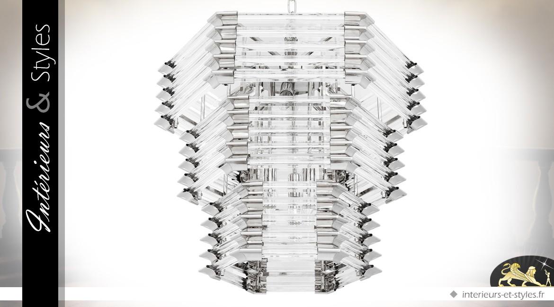 Lustre design hexagonal en verre cristallin et nickel argenté à 12 feux Ø 65 cm