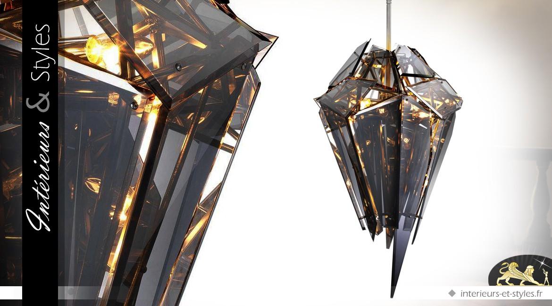 Suspension design Diamant finition nickel et verre fumé 103,5 cm
