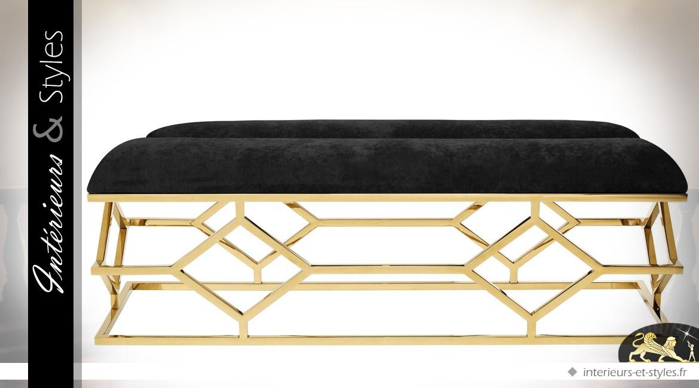 Bout de lit design Art Déco velours noir sur structure géométrique finition or 140 cm