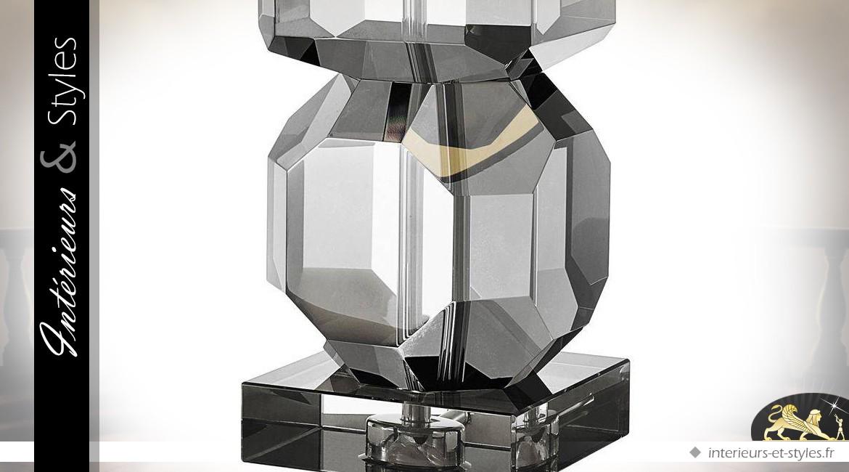 Lampe de salon en verre cristallin taillé et fumé avec abat-jour noir 76 cm
