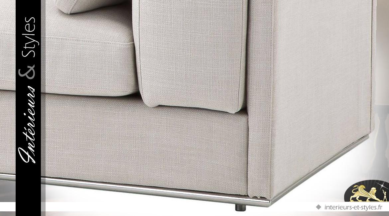 Grand canapé 4 places en tissu Panama avec rembourrage naturel 290 cm