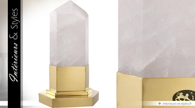 Lampe de salon en cristal de roche véritable sur socle en métal poli doré 46 cm