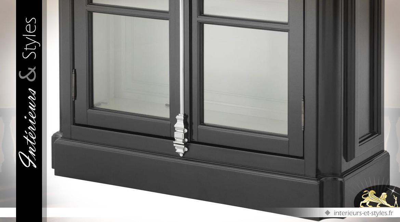 Grande bibliothèque vitrine de style anglais patine noire à deux battants 223 cm
