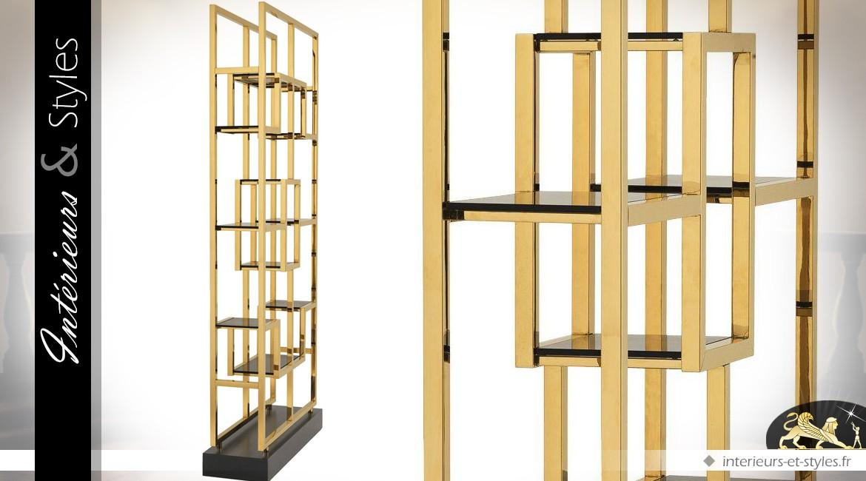 Etagère vitrine ouverte acier inox poli doré brillant motifs géométriques 240 cm