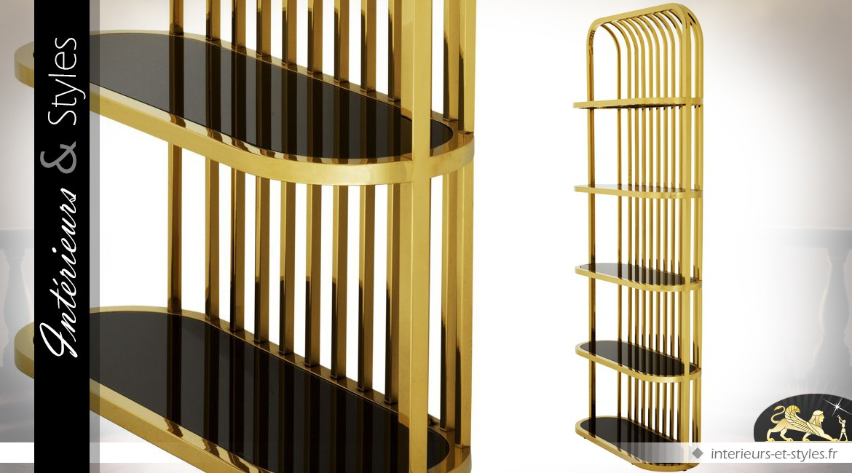 Etagère d'exposition acier inoxydable poli or et tablettes ovales en verre noir 230 cm