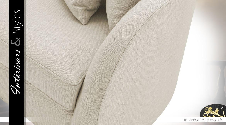Canapé 3 places moderne coloris velours sable 255 cm