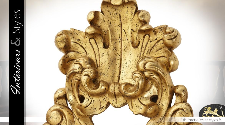 Grand miroir baroque à décors de feuillages dorés sculptés en acajou 190 cm