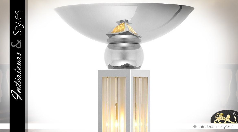 Lampadaire colonne design Art Déco métal argent et verre dépoli 192,5 cm