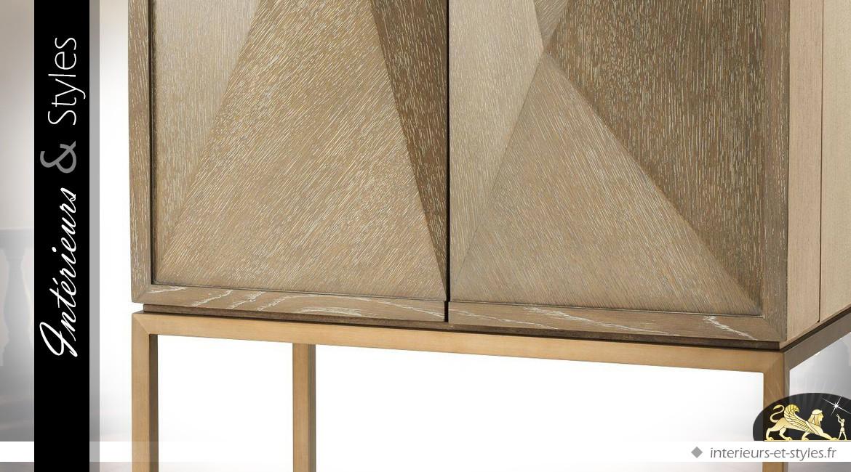 Buffet bar effets géométriques en relief chêne délavé et laiton brossé 168 cm