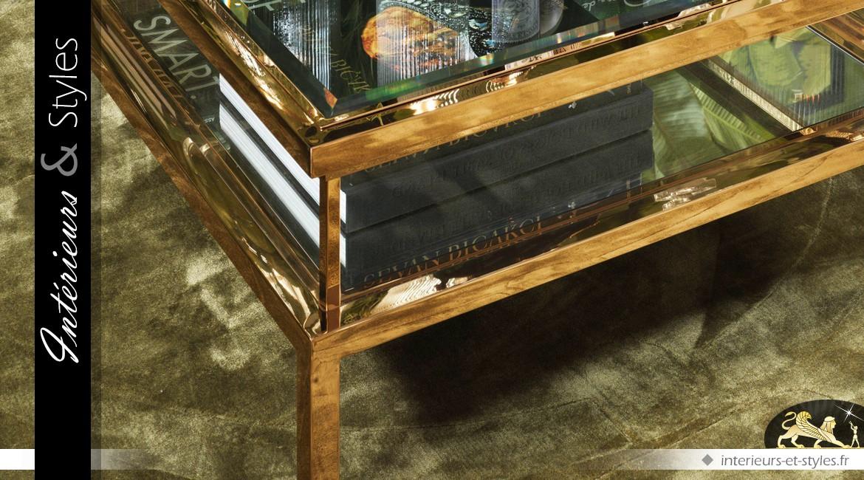 Table basse rectangulaire design doré avec vitrine et plateau coulissant 140 cm