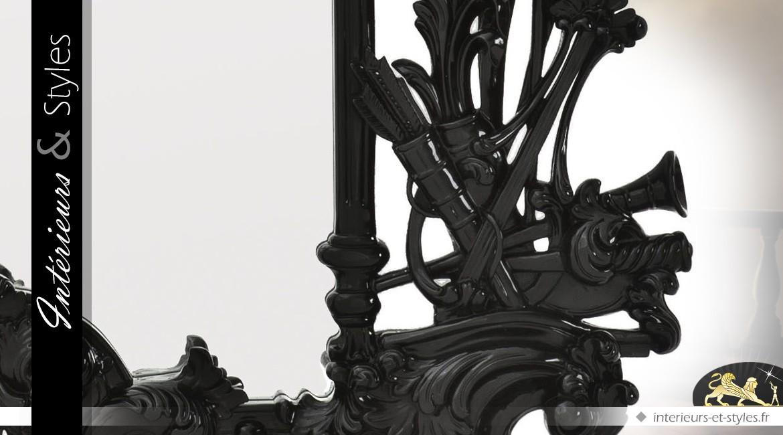Grand miroir baroque noir à décors de feuillages sculptés en acajou 190 cm