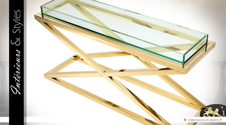 Console design finition or poli avec plateau transparent en galerie 150 cm