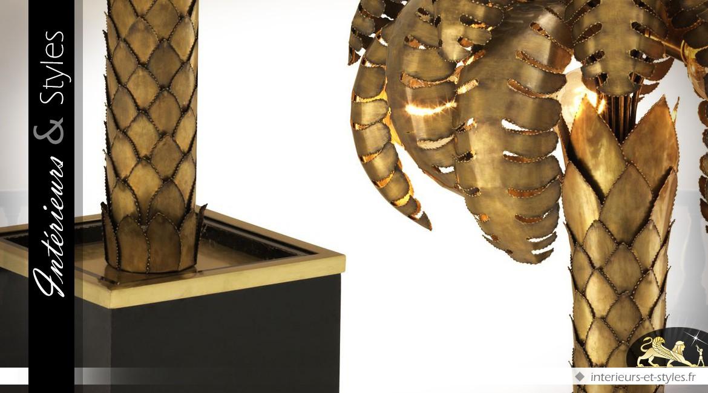Lampadaire Art Déco en forme de grand palmier en laiton doré ancien 147 cm