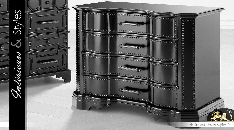 Commode arbalète noir glacé à 4 tiroirs avec ferrures en bronze antique 120 cm