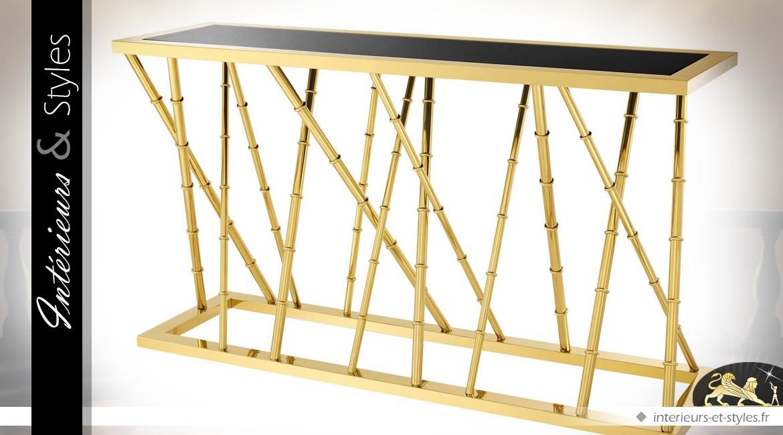 Console Art Déco dorée brillante thème bambous avec plateau en verre noir 139,5 cm