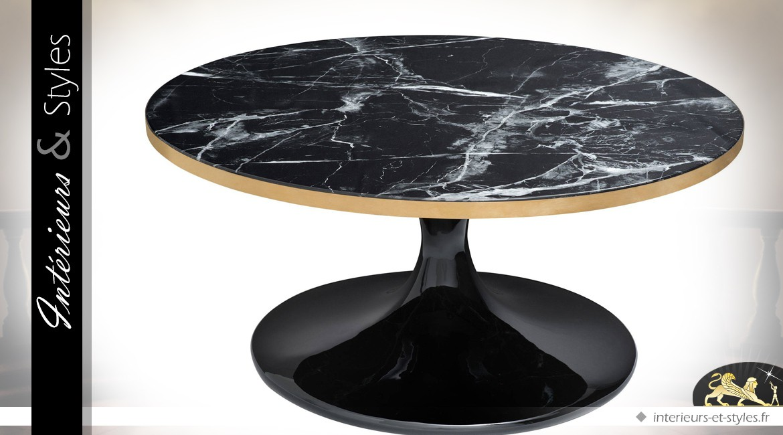 Table basse ronde noir et or avec plateau effet marmoréen Ø 90 cm