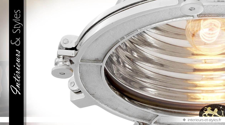 Suspension projecteur de cinéma style indus finition nickel argenté 48 cm